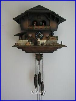 VINTAGE cuckoo clock ANIMATED dancers wheel Helmut Kammerer Chalet SEE VIDEO
