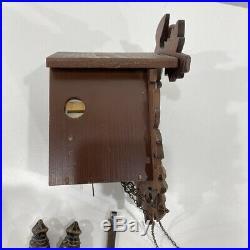 VTG Working Hubert Herr Black Forest Cuckoo Clock Germany Wood Bird Leaves