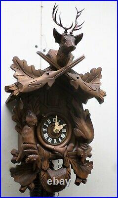 Very Nice German Bavarian Hunter Deer Bachmaier & Klemmer Carved Cuckoo Clock