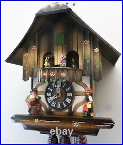 Very Nice German Black Forest Music Dancers Mountain Chalet Wood Cuckoo Clock