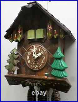 Very Nice German Black Forest Musical Edelweiss Mountain Chalet Cuckoo Clock