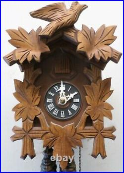 Very Nice German Black Forest Traditional Hand Carved Wood Cuckoo Clock