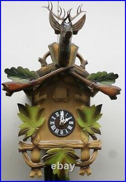 Very Nice Large Black Forest German Hunter Wooden Deer Head Cuckoo Clock