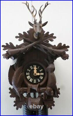 Very Nice Large German Black Forest 8 Day Hunter Deer Hand Carved Cuckoo Clock