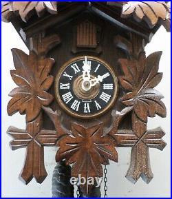 Very Nice Swiss Robert Lotscher Traditional Deeply Hand Carved Wood Cuckoo Clock