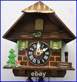 Very Nice Working Black Forest German Wood Mountain Chalet Cabin Cuckoo Clock