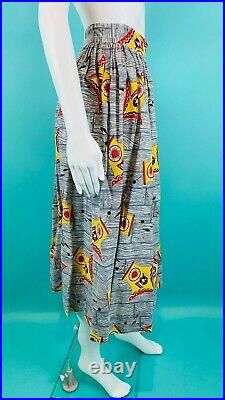 Vintage 1950s Novelty Cuckoo Clock Wood Print Yellow Gray Skirt W 24