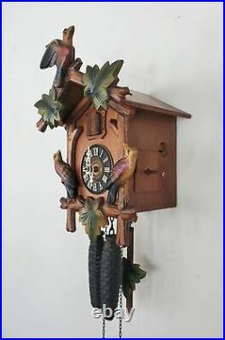 Vintage 30 hour Black Forest Cuckoo Clock Unknown Maker Wooden Bird
