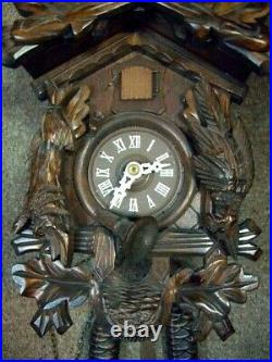 Vintage Black Forest Carved Wooden Cuckoo Wall Clockstags Head, Game Pieces