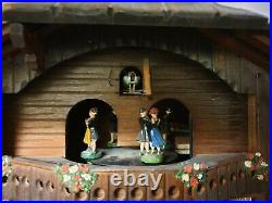 Vintage Black Forest Cottage Style Wall Clock with Music and Dancers