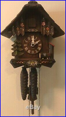 Vintage Chalet Flowers Trees Cuckoo Clock Wood Pile Weight Driven 7.5 x 7.5