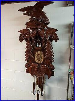 Vintage Coo Coo Alpine Wood Ornate Mahogany Clock Quartz Wall Clock Amazing Lot