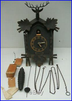 Vintage Cuckoo Clock with Stag's Head Made in Germany Working Well no Sound