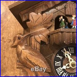 Vintage German 8 Dancers Chalet Carved Wood Cuckoo Clock Germany