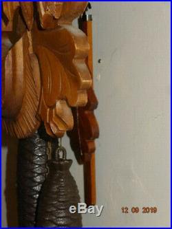 Vintage German Black Forest Cuckoo Clock Hunter Stag Head Carved Wood Ornate