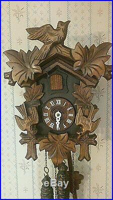 Vintage German Black Forest Wood Carved Birds CUCKOO CLOCK withPine Cone Weights