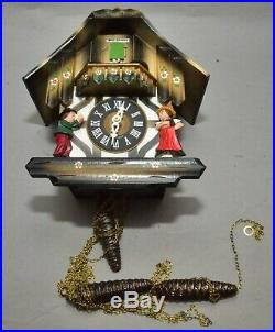 Vintage German Black Forest Wood Cuckoo Clock with Cuendet Swiss Movement 7695-703