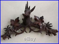 Vintage German Black Forest cuckoo clock carved wooden topper deer buck head