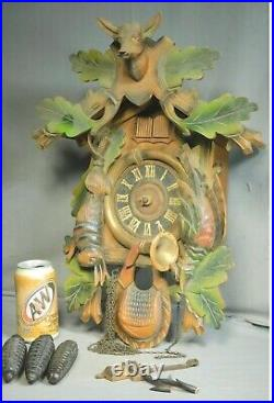 Vintage Rombach Haas RHS Carved Black Forest Cuckoo Clock Music Box 3 Weight 50s