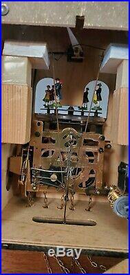 Vintage Schmeckenbecher Musical Animated Cuckoo Clock Dancers 30 Hr Working