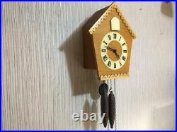 Vintage USSR Mayak Mechanical Wall Hanging Wooden Cuckoo Clock Fight