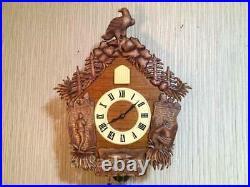 Vintage USSR Mayak Wall Mechanical Wooden Cuckoo Clock Fight Handmade Fishing