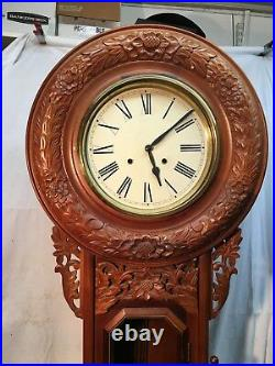 Vintage Westclox Pendulum Wall Clock 47in Tall Grandfather Carved Wood Black For