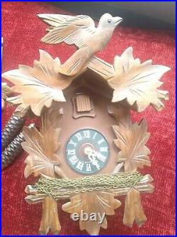 Vintage Wood Wooden Cuckoo Clock Germany Just Serviced Excellent Condition