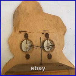 Vintage Wooden Wall Clock Gnome with Moving Eyes Made in Germany 1950's RARE