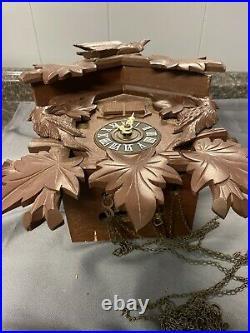 Vintage wood wooden cuckoo clock germany german black forest