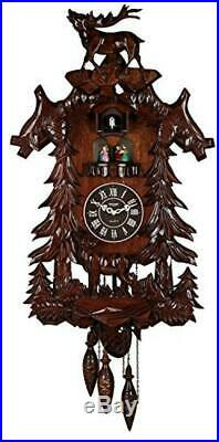 Vivid Large Deer Handcrafted Wood Cuckoo Clock with 4 Dancers Dancing with