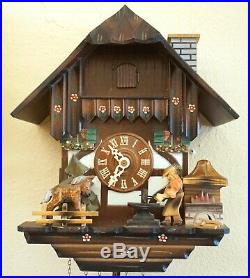 Vtg German Black Forest Wood Carved CUCKOO CLOCK 3-Weight Music Box Blacksmith