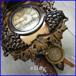 Wooden cuckoo clock handmade wood carving exclusive gift