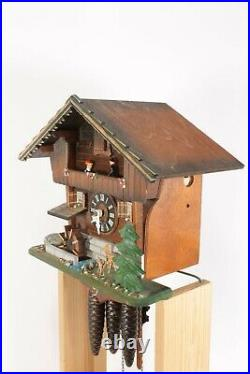 Working Chalet Style Black Forest Musical Automaton Waterwheel Wall Cuckoo Clock